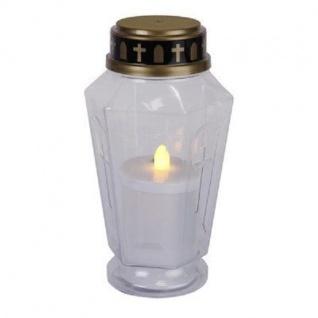 LED Grableuchte Grablicht Grablaterne Grabkerze 15, 5cm transparent 068-60