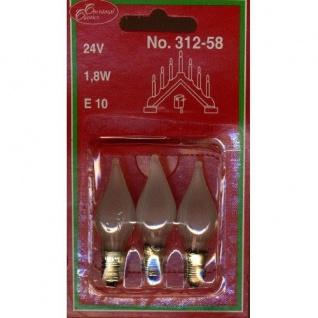 Glühbirne Windstoßkerze E10 3er satiniertes Glas 24V 1, 8W 312-58