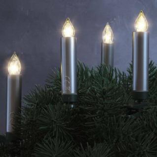 LED Weihnachtsbaumbeleuchtung Kabellos Dimmer Timer Flacker 10er silber 30049