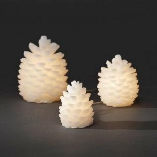 LED Echtwachskieferzapfen 3er Set weiß Trafo innen Konstsmide 1969-100