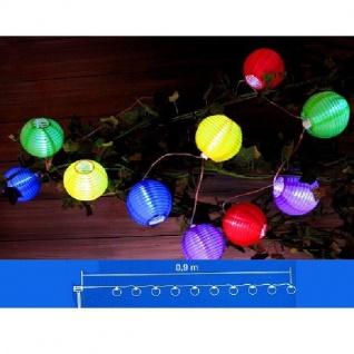 Solar LED Party-Lichterkette 10er Lampions bunt JFS040