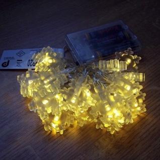 LED Lichterkette Schneeflocke warmweiß 20er Batteriebetrieb BI11564-3