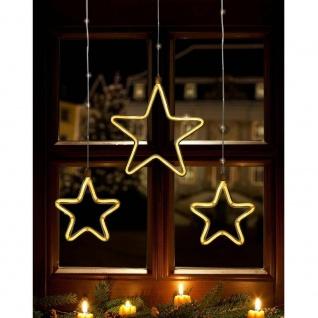 LED Lichtervorhang 2 Kleine 1 großer Stern 258er warmweiß IP44 FHS 35079-3