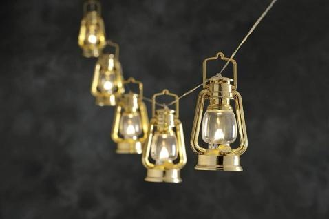 LED Party-Lichterkette Sturmlaterne gold 7m flackernd Konstsmide 4128-800