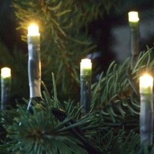 LED Mini-Lichterkette 50er warmweiß / grün ein Strang innen 04545