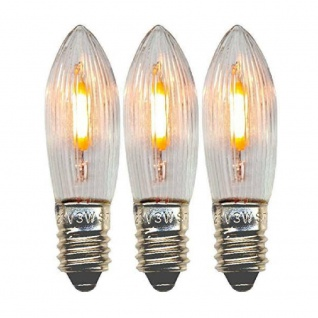 Universal LED Glühbirne E10 3er klares Glas 0, 1-0, 5W 14-55V 3lm 2100K 300-75