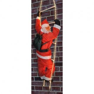 Weihnachtsmann auf Lichtschlauch Leiter beleuchtet außen HI 54115 xmas