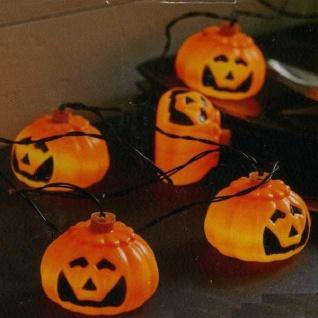 LED Lichterkette Kürbis orange Halloween Batteriebetrieb Timer 728-80