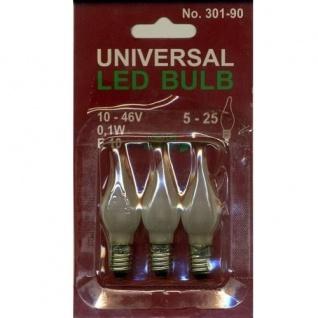 Universal LED Glühbirne E10 3'er satiniertes Glas 10-46V 0, 1W 301-90