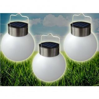 LED Solarleuchte Leuchtkugel 3er Set zum Aufhängen kaltweiß 13cm außen 25632