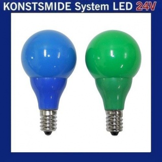LED Glühbirne Glühlampe 24V E10 0, 48W blau / grün 5686-420