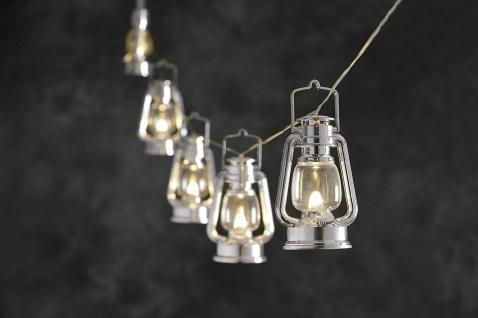 LED Party-Lichterkette Sturmlaterne silber 7m flackernd Konstsmide 4128-300