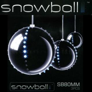 Snowball Christbaumkugeln 3 Stück silber 3 x 52 LEDs innen JSFB80-3