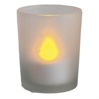 LED Windlicht flackernd an/aus pusten Glas 6, 5cm Best Season 066-44