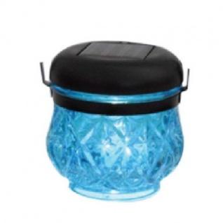 LED Solarleuchte Solarlampe Laterne Glas blau Blachere JFS065B