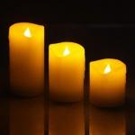 3er LED Echtwachs-Kerzen-Set 5x5/7/10cm HI 55026