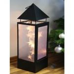 Metall-Laterne Turmform 3D Holografie Effekt 15er LED warmweiß 14018