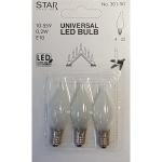 Universal LED Glühbirne E10 3er satiniertes Glas 10-55V 0, 2W 301-90