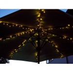 LED Sonnenschirm Lichterkette 160er warmweiß Kabel weiß FHS 17040