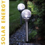 LED Solarleuchte Solarlampe ROMA 2er Glaskugeln kaltweiß Best Season 477-37