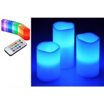 3er LED Echtwachs-Kerzen-Set weiß Fernbedienung Farbwechsel HI 55038