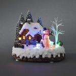 LED Szenerie Haus mit Schneemann animiert innen Konstsmide 3495-000