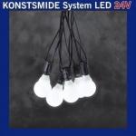 LED Party-Lichterkette 10er opal weiß Konstsmide 24V System 4641-107