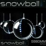 Snowball Christbaumkugeln 5 Stück silber 5 x 52 LEDs innen JSFB80-5