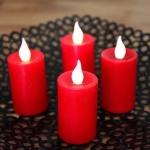 LED Echtwachskerzen 4er Set rot Fernbedienung 003-24 xmas