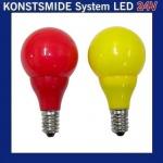 LED Glühbirne Glühlampe 24V E10 0, 48W rot / gelb 5686-520
