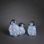 LED Acryl 3er Pinguinfamilie 11x10cm kaltweiß außen Konstsmide 6270-203 xmas