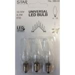 Universal LED Glühbirne E10 3er klares Glas 0, 2W 10-55V 0, 2W 300-01