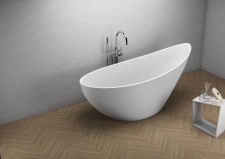 Freistehende Badewanne | weiß | 180 x 80 x 60 cm inkl. Wannenfuß und Ablaufgarnitur