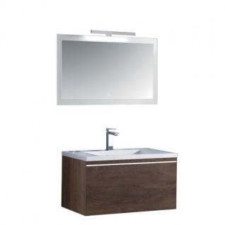 Badmöbel Badezimmermöbel-Set Spiegel-LED Badmöbelset mit Mineralgusswaschbecken