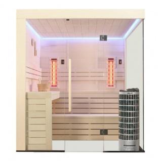 Sauna Pappelholz 207x168x220 Saunaofen Cilindro 9kW Infrarotkabine