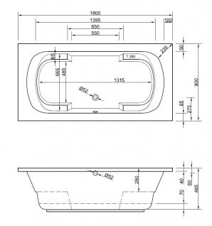 Badewanne Wanne Raumsparwanne Raumsparbadewanne eckbadewanne eckwanne rechteck - Vorschau 2