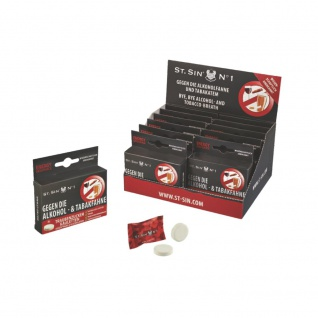 ST. SIN N°1 - Display mit 12 Schachteln à 8 Energy-Geschmack Kaubonbons gegen Alkoholatem/Tabakatem!