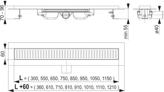 Ablaufrinne mit niedrige Bauhöhe | Duschrinne | Ablauf Edelstahl - Vorschau 3