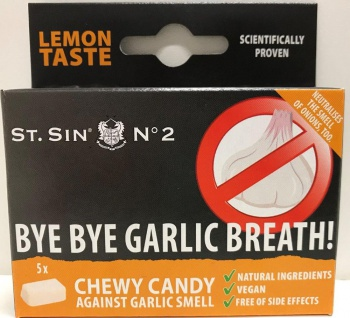 ST. SIN N°2 - Display mit 12 Schachteln à 5 Zitronen-Geschmack Kaubonbons gegen Knoblauchatem/Zwiebelatem! - Vorschau 3