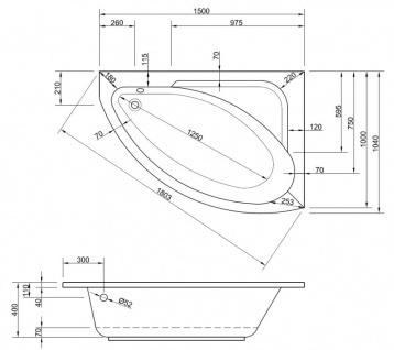 Badewanne-Acryl 150x104x40cm Wanne Raumspar Schürze Rechteck - Vorschau 5
