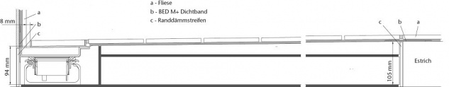 Duschboard   waagerechte Ablauf   werkseitiger Abdichtung   perfekt für die Renovierung/neubau - Vorschau 2