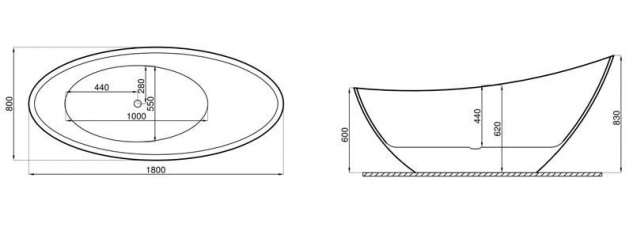 Freistehende Badewanne | weiß-schwarz | 180x80x60cm inkl. Wannenfuß und Ablaufgarnitur - Vorschau 2