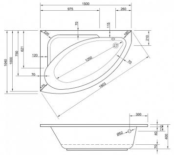 Badewanne-Acryl 150x104x40cm Wanne Raumspar Schürze Rechteck - Vorschau 4