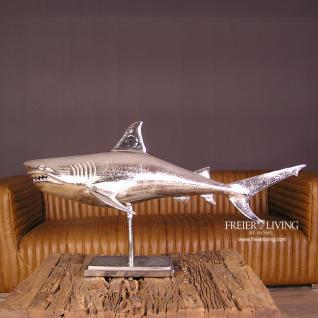 Designer Hai Fisch Raubfisch Figur Skulptur Alu Aluminium