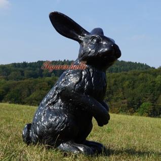 Osterhase groß schwarz Figur Außendekoration Hase Garten Ostern