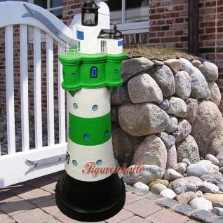 Leuchtturm grün weiß Sylt Deko Garten Gartenfigur Maritim Aufsteller