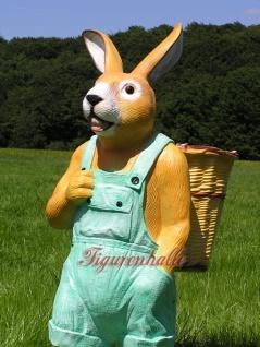 Osterhase Ostern Deko-Figur Gartenfigur Statue grüne Latzhose - Vorschau 4