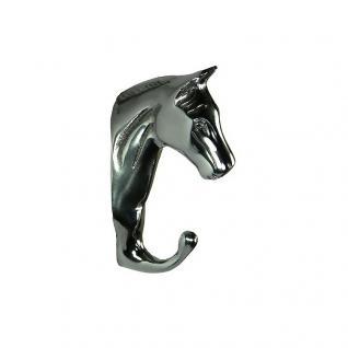 Wandhaken Garderobe Pferdekopf Pferd Aluminium Chrom Deko Dekoration Harkenleiste