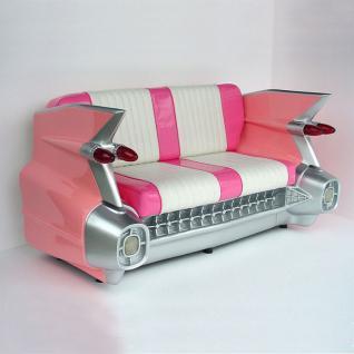 Cadillac Sofa Diner Deko pink rosa weiß mit Beleuchtung Deko Diner