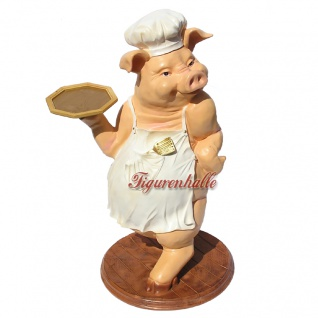 Schwein als Butler Dekofigur Werbefigur